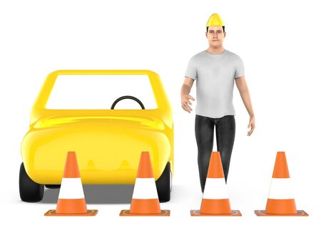 3d character , man , traffic cones around a car - 3d rendering Фото со стока - 133419687