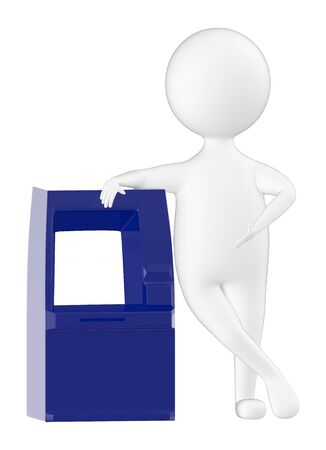 3d character , man leaning towards a atm - 3d rendering