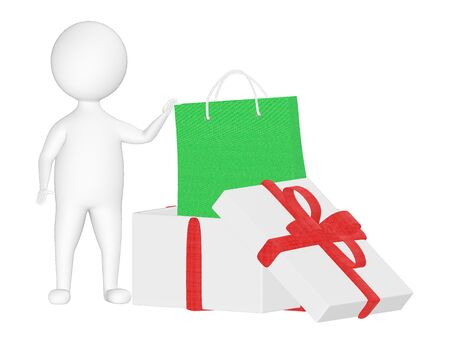 3d character , man gift box and shopping bags - 3d rendering Stock Photo