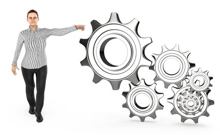 3d character , woman pointing hands toawrds cogwheel  gear - 3d rendering Stockfoto