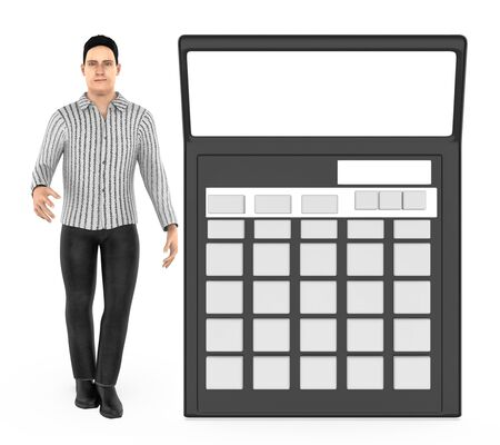3d character , man and a calculator - 3d rendering