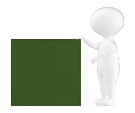 3d character , man with a green blank board- 3d rendering
