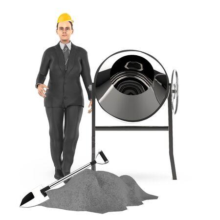 3d character , woman wearing hard cap , standing near to concreate mixer , shovel and some concreate on ground- 3d rendering