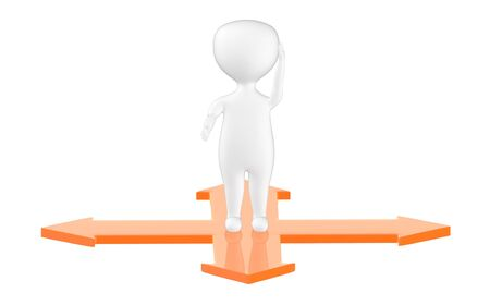 3d character , man confused while standing on four way directional arrows- 3d rendering
