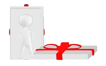 3d character , man character inside a opened gift box- 3d rendering
