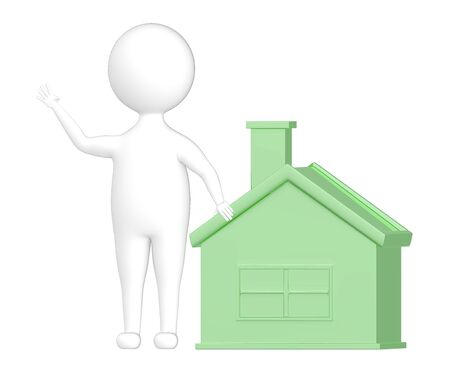 3d character , man and a house - 3d rendering
