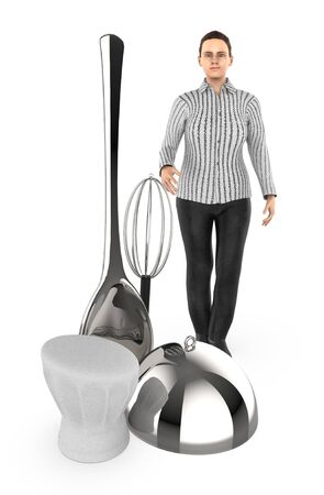 3d character , woman , mixer spoon , spoon , lid , chef - 3d rendering