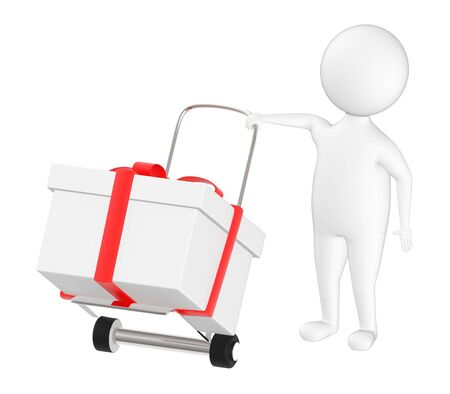 3d character , man trolley and ribbon wrapped gift in it- 3d rendering