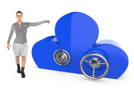 3d character , woman pointing his hand towards cloud shaped locker - 3d rendering