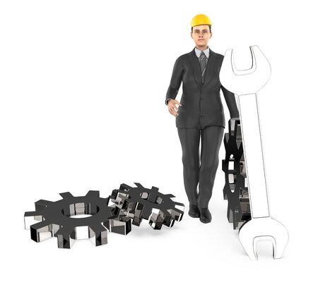 3d character , woman worker wearing safety cap and standing near to a different cog wheels