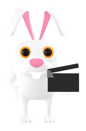 3d character , rabbit holding a clapperboard- 3d rendering