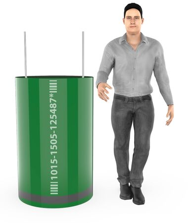 3d character , man and capacitor- 3d rendering Stock Photo