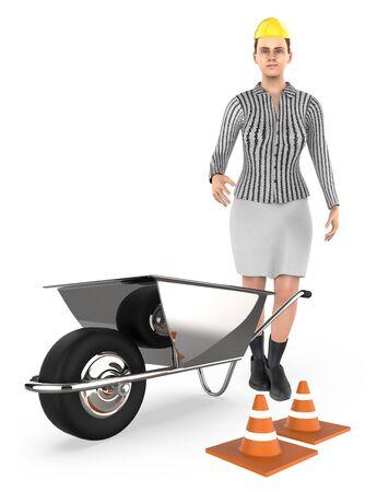 3d character , woman , wheel barrow and traffic cone,s - 3d rendering Banco de Imagens