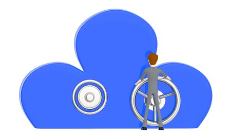 3d character , man holding handle of a cloud shaped locker - 3d rendering Stock Photo