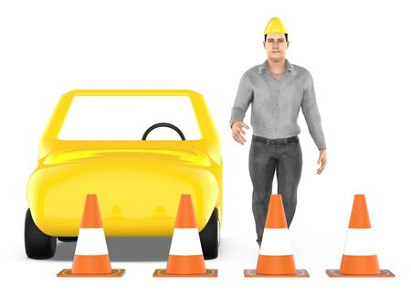 3d character , man , traffic cones around a car - 3d rendering Фото со стока - 133420457
