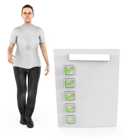 3d character , woman checkmark list , tick - 3d rendering Stock fotó