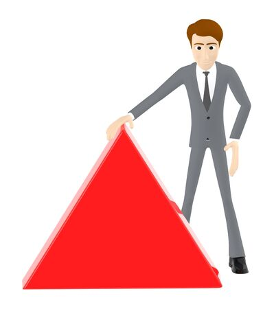3d character , man with red triangular board , copyspace - 3d rendering