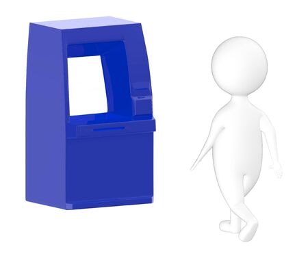 3d character , man walking toward atm - 3d rendering
