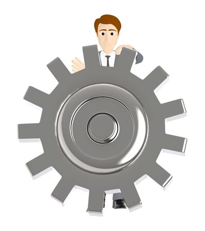 3d character , man with a cogwheel - 3d rendering