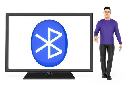 3d character , man presenting a tv with bluetooth sign shown in the screen - isolated in white background- 3d rendering