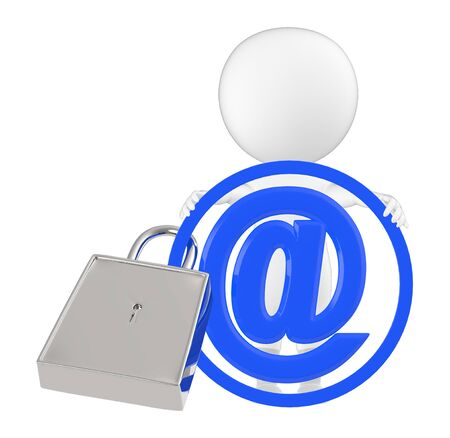 3d character , man and padlock locked over email sign - 3d rendering Stock Photo
