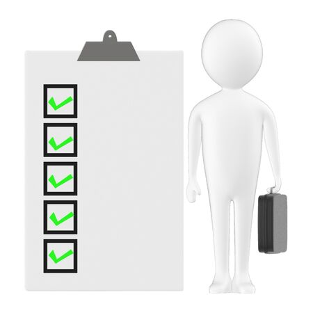 3d character , man holding a briefcase and standing near a clipboard with checkmark list in it - 3d rendering