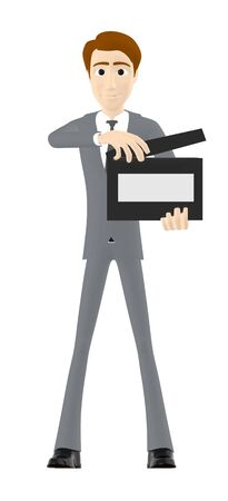 3d character , man holding a clapperboard- 3d rendering