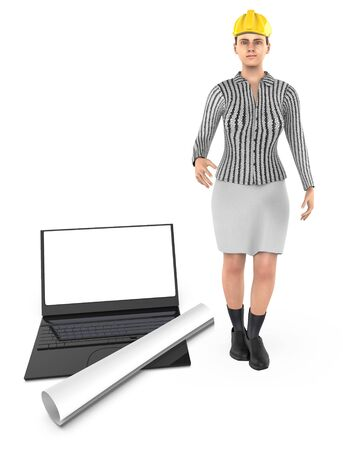 3d character , woman , hard helmet , laptop and draft paper - 3d rendering