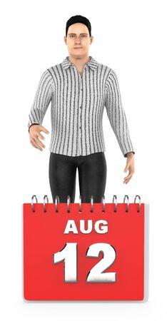 3d character , man , smiling standing next o august 12 calender - 3d rendering 版權商用圖片 - 133420703