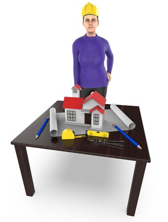 3d character , woman table , miniature house- plan - divider -measuring tape - 3d rendering Zdjęcie Seryjne
