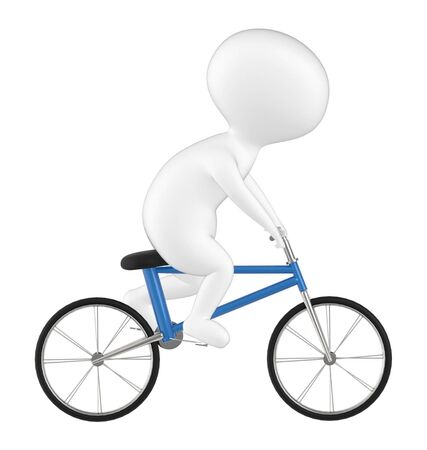 3d character , man riding bicycle- 3d rendering