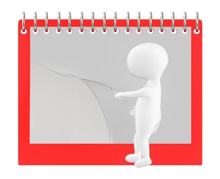 3d character , man flipping page of empty calender  notepad- 3d rendering