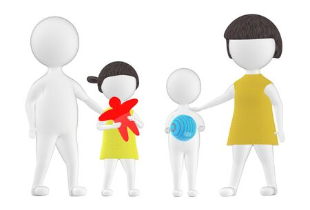 3d character , family , children and parents- 3d rendering