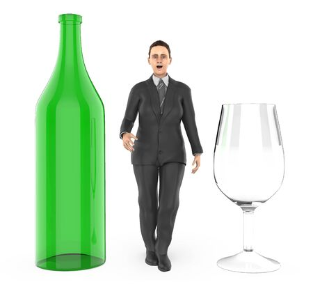 3d character ,woman and a bottle and a wine glass - 3d rendering
