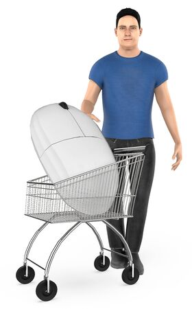3d character , man cart with a mouse- 3d rendering Stock Photo