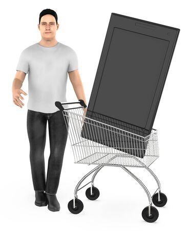 3d character , man cart with a smartphone- 3d rendering Фото со стока - 133420909