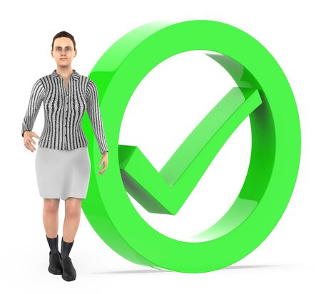 3d character , women and tick mark sign bounded by a circle - 3d rendering Stok Fotoğraf