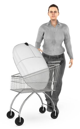 3d character , woman cart with a mouse- 3d rendering Stock Photo