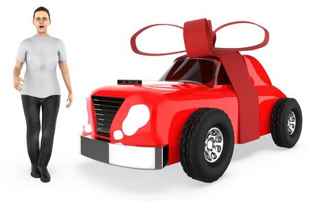 3d character , woman and a ribbon wrapped car - 3d rendering Stock Photo