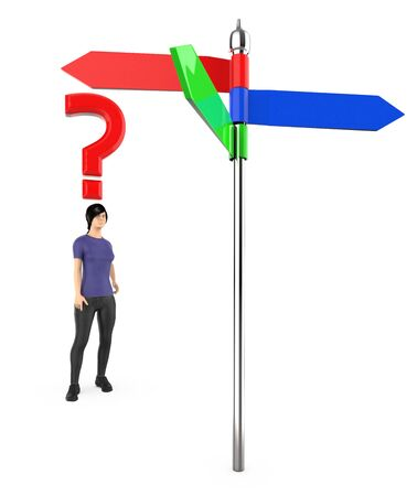 3d character , woman , standing in front of a arrow sign board , question mark over his head - 3d rendering Stok Fotoğraf - 133420935