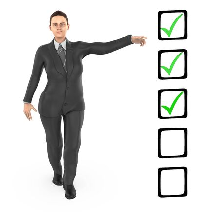 3d character ,woman pointing hands towards a checkmark list - 3d rendering
