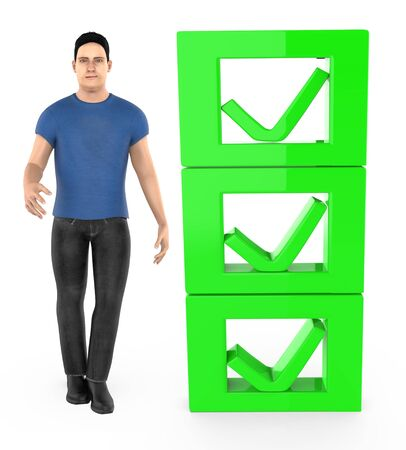 3d character , man and checkmark list - 3d rendering Stok Fotoğraf - 133420981