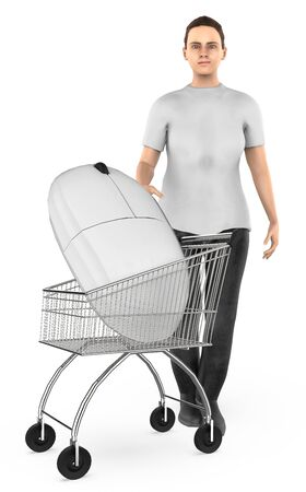3d character , woman cart with a mouse- 3d rendering Stock Photo - 133421035