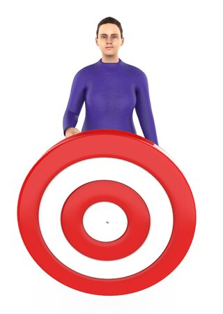 3d character , woman and a dart target board - 3d rendering