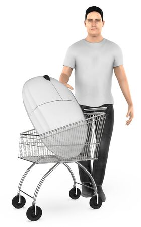 3d character , man cart with a mouse- 3d rendering Stock Photo - 133421128
