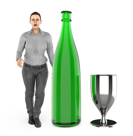 3d character , woman with a wine bottle and a glass- 3d rendering Stock Photo