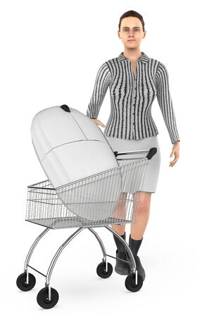 3d character , woman cart with a mouse- 3d rendering Stock Photo - 133421260