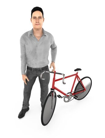 3d character , man and a cycle - 3d rendering