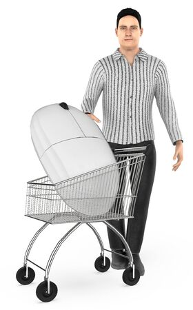 3d character , man cart with a mouse- 3d rendering Stock Photo - 133421416