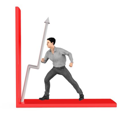 3d character , man , push arrow in a graph - 3d rendering